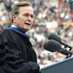 President H.W. Bush delivers commencement speech