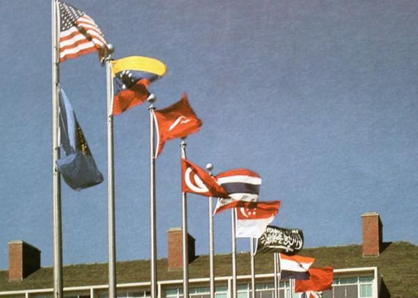 Flags fly over International Mall