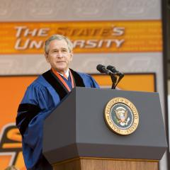 President Bush delivers commencement address